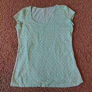 Mint Green Lace Overlay Shirt